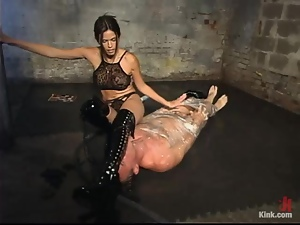 Wild Bill enjoys having clamps on his balls in BDSM scene with Shy Love