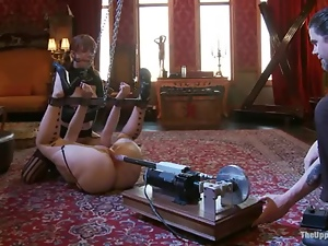 Two ugly bitches get tied up and mouth-fucked in BDSM vid
