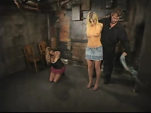 Two sexy chicks get tied up and toyed by their master