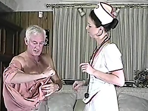Filthy nurse is treating that old fart with her pussy