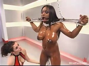 Interracial BDSM Lesbian Action Video with Toying and Bondage Fun