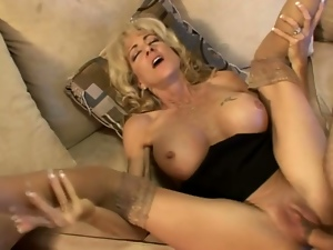 Stunning mature lady will have fun with a hard cock
