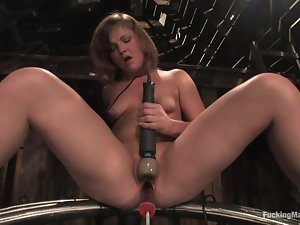 Nasty Cassidy Essence gets her vagina toyed in a wooden barn
