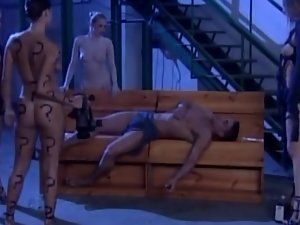 Four slutty chicks get fucked by a muscular guy