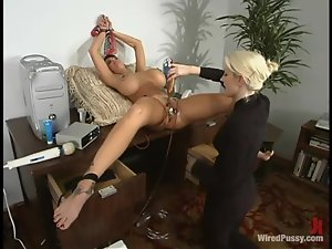 Nasty chick with huge boobs gets toyed rough in an office