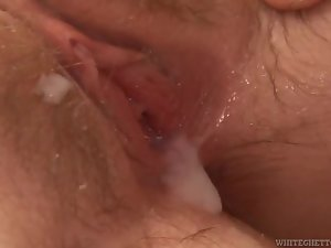 Busty brunette gives head and gets her cooch pounded and creampied