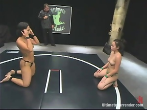 Two Asian girls fight fiercely and have hot lesbian sex