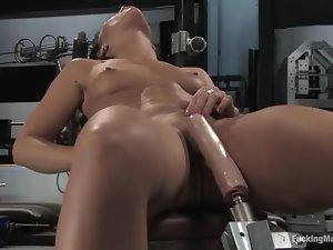 Playful brunette doesn't fuck men only machines