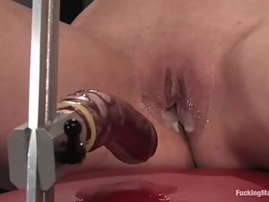 Ivy Mokhov screams with pleasure while riding a sex machine