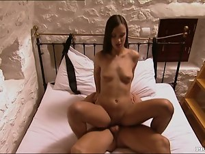 Victoria Sweet gives a blowjob to her man and rides his shaft