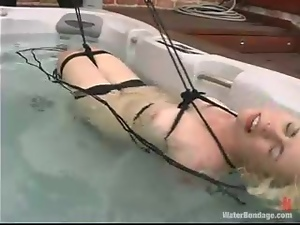 Tied up Lorelei Lee gets humiliated in a bathtub in a backyard