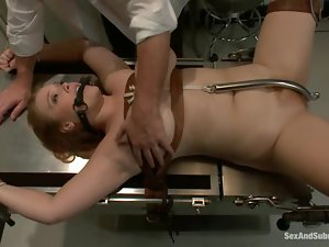 Big breasted girl in latex nurse uniform gets fucked