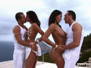 Angel Dark and Bambi enjoy fantastic foursome sex outdoors