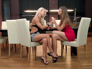 Two cute girls make some lesbian love after a first date