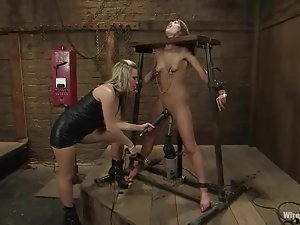 Gorgeous Babe Fucked by Machine and Strapon in Lesbian BDSM Session