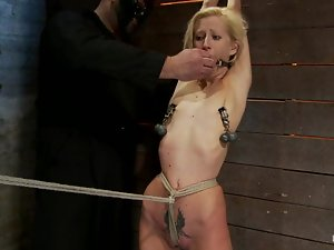Skinny Rene Phoenix gets her small titties tortured