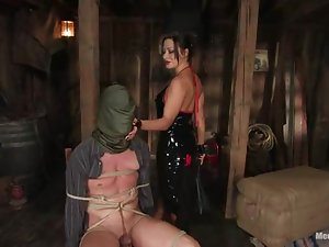 Sexy bitch suspends her man and makes him stun from pain