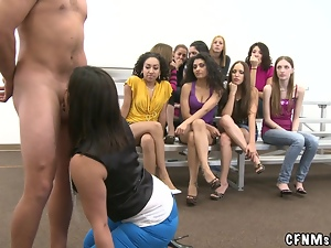Horny midget is being shared by two smoking hot chicks