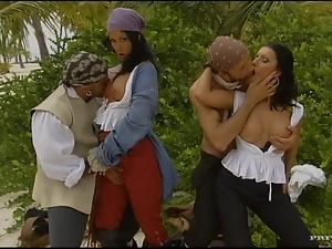 Sexy pirates Nikky Rider and Simonne Style have foursome sex on a beach