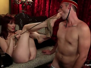 Lusty redhead bunny is being fetish with a room service.