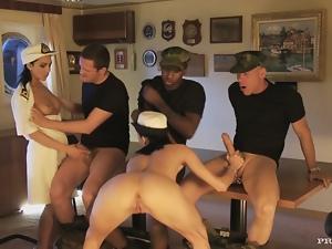 Three dudes are fucking two smoking hot chicks