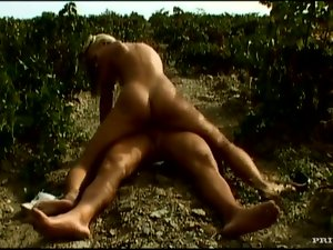 Blonde Beauty Liliane Tiger Sucking and Fucking Outdoors in Vineyard