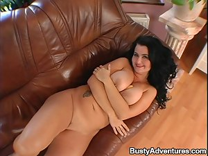 Big Boobed Brunette Getting Her Twat Banged and Her Ass Toyed