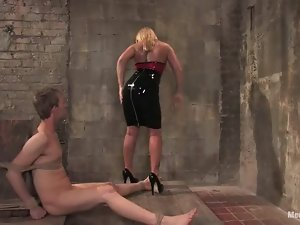 Curvaceous blonde mistress dominates a guy and gets toyed