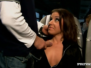 Amy Cameron gets her mouth and pussy fucked in a bus