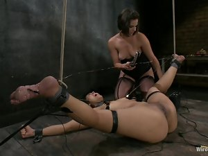 Domination with Toying and Strapon Fucking in Lesbian BDSM Video