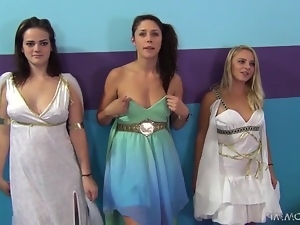 Hot girls in evening dresses get fucked by one guy