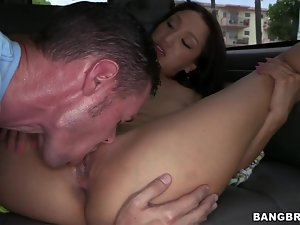Brunette Vicki Chase Giving Minutes of Happiness to Random Dudes in Van