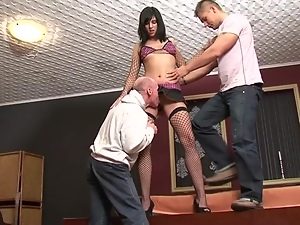 Elite whore is serving two clients at a time