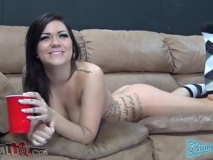 Brunette slut toys her vagina and gets pounded on a sofa