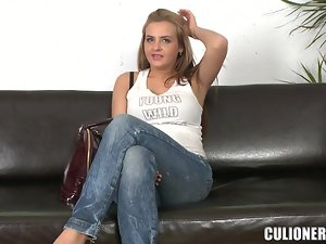 Busty blonde Candy Alexa blows and enjoys jumping on a cock