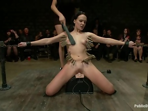 Brunette whore gets tied up and fucked in public