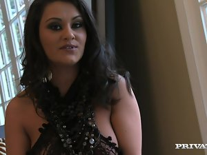 Curvy brunette Charly Chase gives head and gets fucked doggy style