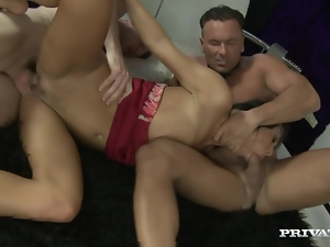 Mandy Bright works on two cocks and gets her vag stunningly pounded