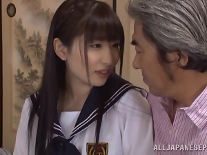 Sizzling schoolgirl Arisa is pleasing her friend's grandpa