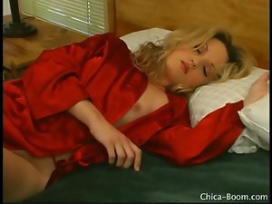Starla Fox is sexy in red satin robe