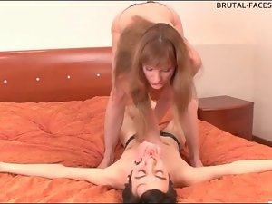 Pretty girl with perky tits sits on his face