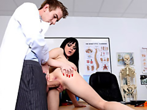 Clothed doctor fucks patient