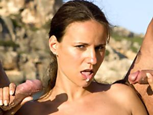 Italian girl threesome on the beach