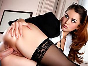 Office hottie in stockings
