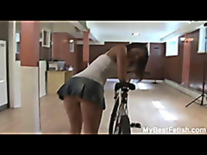Upskirt and ass worship on bicycle