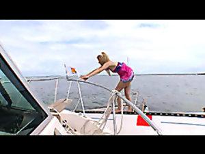 Hot redhead Ally Ann giving the coastguard a bj for saving her life