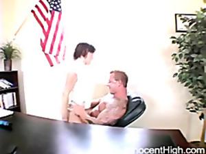 brunette chick riding her horny teacher