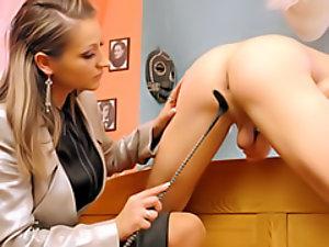 Dominating her slave