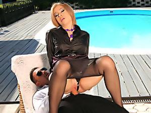 Slut sits on cock!