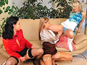 Three ladies peeing